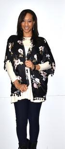 152151 Black Floral Print Kimono w/ Tassels