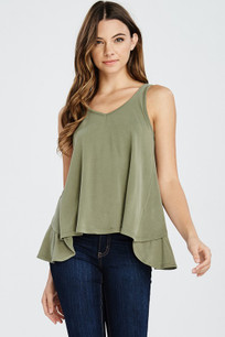 160 Green Ruffled Back Tank Top