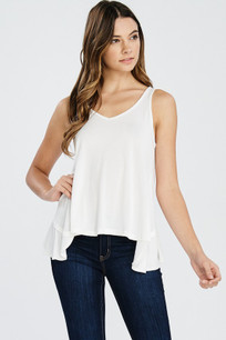 160 White Ruffled Back Tank Top