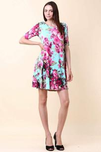 3516 Light Aqua Floral Dress