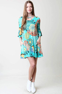 7915 Turq Circles Printed Pocket Dress w/ Criss Crossed Neck