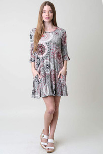 3600 Light Circle Printed Pocket Dress