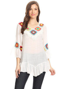 608 White Embroidered Crochet Top