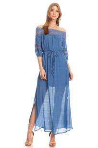 215046 Denim Blue Crochet Trim Dress