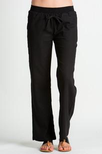 24833 Black Linen Pocket Drawstring Pant