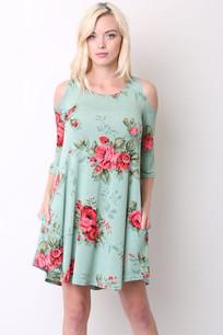 357 Mint Floral Cold Shoulder Dress