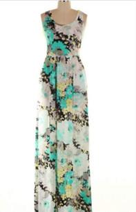 1516 Mint Maxi Floral Dress