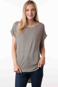 17088 Navy/Beige Striped Zipper Back Top