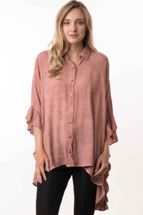 15491 Mauve Crystal Dyed Ruffled Sleeve Top