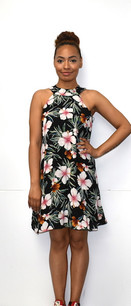 4030 Black Floral Tank Fully Lined Dress