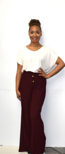 902 Burgundy Pleated Pants