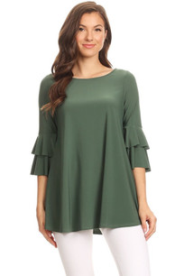 1418 Light Olive Ruffled Top
