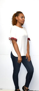 50309 White w/ Red Plaid Trimmed Sleeved Top
