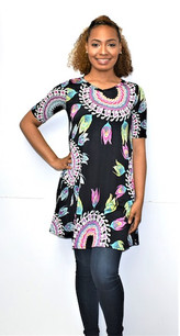 3516 Black Short Sleeved Feather Tunic Dress