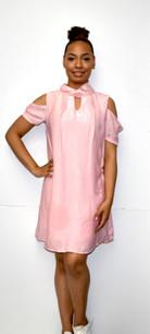 3684 Light Pink Cold Shoulder Fully Lined Dress