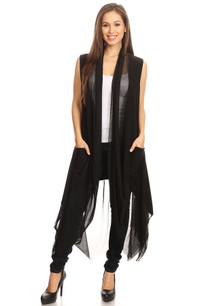 J069 Black Cardigan Vest