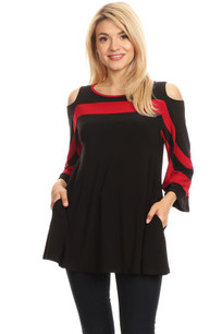 446 Black/Red Contrast Trim Cold Shoulder Tunic