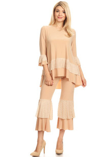 1703 Light Taupe Two Piece Pant Set w/ Lace Ruffled Trim