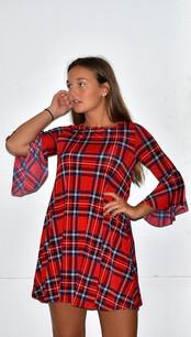 3593 Red/Blue Plaid Printed Pocket Dress