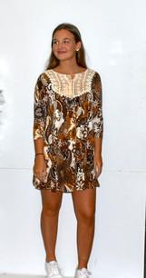 3202 Brown Lace Trimmed Pocket Dress