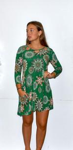 36111 Green Circle Patterned Dress