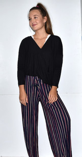 902 Navy/Red Pleated Striped Pants