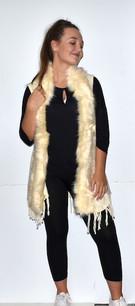 508-YV20 Ivory Fur Trimmed Vest w/ Tassels