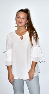 2287 Off White Ruffled Tie Sleeve Top