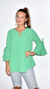 2287 Green Ruffled Tie Sleeve Top