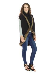 60101 Black Fur Trimmed Sweater Vest