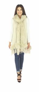 60162 Beige Faux Fur Sleeveless Vest w/ Hood