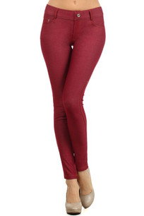 201 Burgundy 5 Pocket Skinny Jeggings