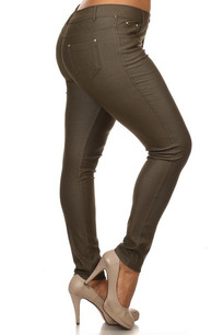 201 Olive 5 Pocket Skinny Jeggings