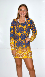 2214 Yellow/Blue Sweater Dress