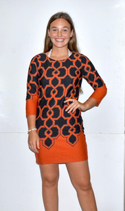 2214 Orange/Blue Sweater Dress
