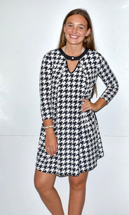 3224 Black/White Houndstooth Dress