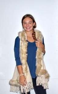AA18-674 Cream Fur Trimmed Color Wrap