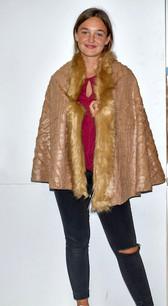 AA18-674 Tan Fur Trimmed Color Wrap