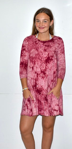 4082 Mauve Tie Dye Pocket Tunic Dress