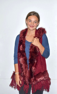 60101 Burgundy Fur Trimmed Sweater Vest