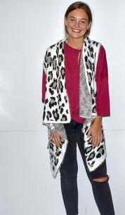 60122 White Eyelash Leopard Vest