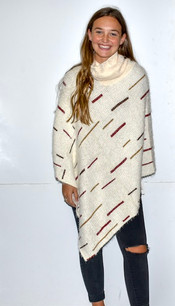 60136 Cream Striped Poncho