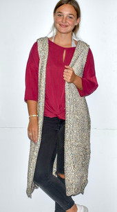 60529 Beige Hooded Knit Sweater Vest