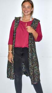 60529 Black Hooded Knit Sweater Vest