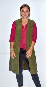 10555 Green Faux Fur Lined Long Vest