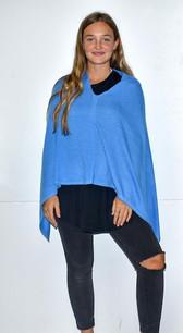 Sky Blue Cashmere Poncho