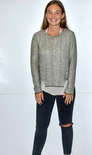 Black/Silver Sparkle Sweater Top w/ Buttoned Back