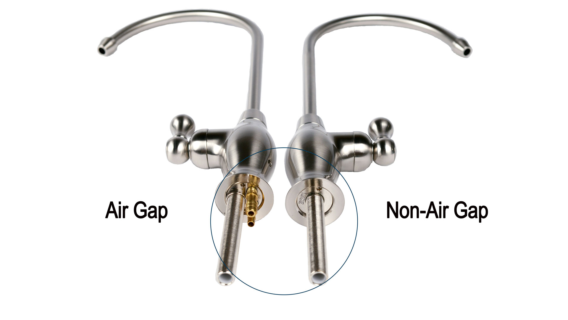 Picture of an Air Gap Faucet side by side a Non Air Gap Faucet