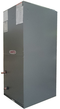 Side view of a 5 ton hydronic 2-pipe re-manufactured air handler
