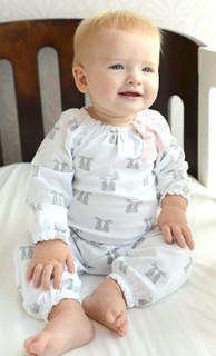 Feather Baby Romper | Hares on White